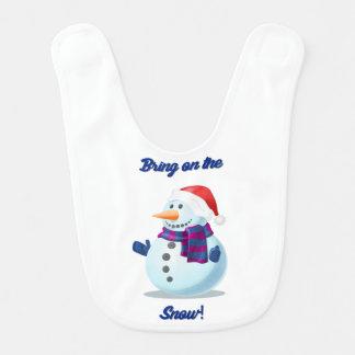 Babador bonito do boneco de neve do feriado do
