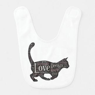 Babador bonito e inspirado do bebê com gato preto