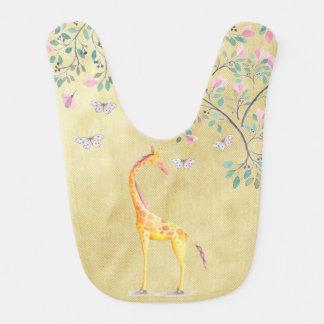 Babador Borboletas e flor do girafa da aguarela