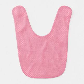 Babador cor-de-rosa do bebê das bolinhas