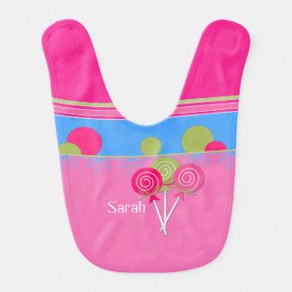 Babador cor-de-rosa do bebê do açúcar e da