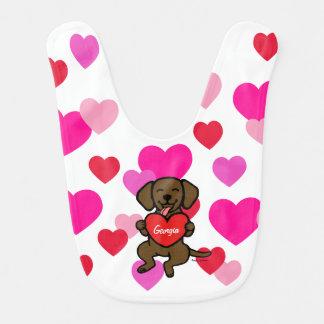 Babador Coração saboroso personalizado de Labrador do