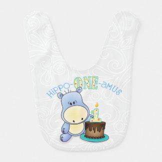 Babador De Bebe Aniversário do amus do Hipopótamo-Um primeiro