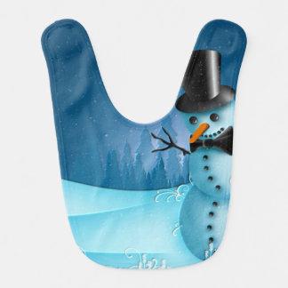 Babador De Bebe Boneco de neve azul da neve com o nariz do chapéu