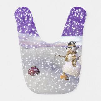 Babador De Bebe boneco de neve do Natal