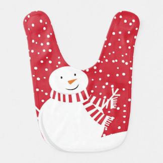 Babador De Bebe boneco de neve vermelho e branco contemporâneo