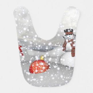 Babador De Bebe branco e presente do boneco de neve