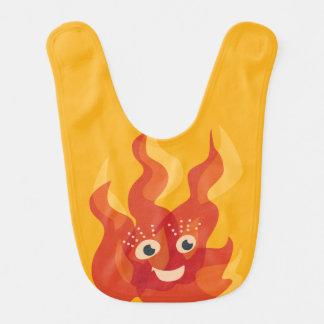 Babador De Bebe Caráter ardente feliz da chama do fogo