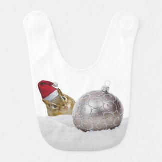 Babador De Bebe Feriado bonito da prata do Chipmunk e do Natal da