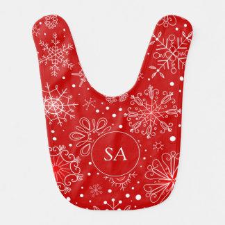 Babador De Bebe Flocos de neve bonitos no Natal vermelho do fundo