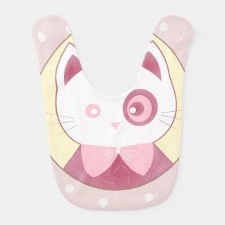 Babador De Bebe Gatinho cor-de-rosa bonito feliz