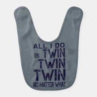 """Babador De Bebe """"Gêmeo gêmeo gêmeo não importa o que"""" marinho do"""