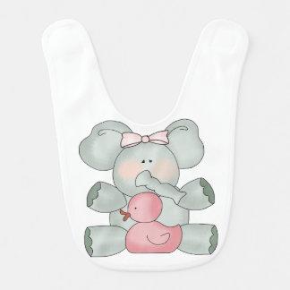 Babador De Bebe Meninas do branco do elefante do bebê