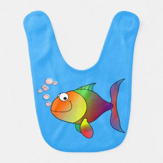 Babador De Bebe Peixe dourado alegre bonito no mar, luz - azul