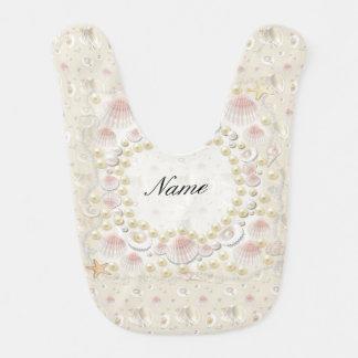 Babador De Bebe Seashells e pérolas personalizados