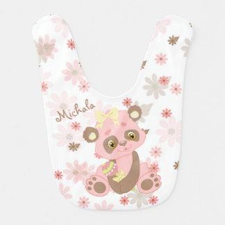 Babador De Bebe Teste padrão cor-de-rosa do Pastel do urso de