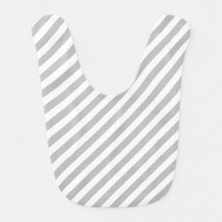 Babador De Bebe Teste padrão diagonal do cinza e o branco das