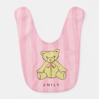 Babador De Bebe Urso cor-de-rosa da menina personalizado