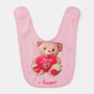 Babador De Bebe Urso de ursinho com coração do amor