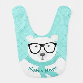 Babador De Bebe Urso polar do hipster no olhar Lenço-Acolchoado