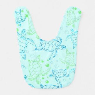 Babador do bebê azul das tartarugas
