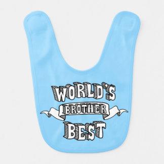 Babador do bebê azul do texto do irmão do mundo o