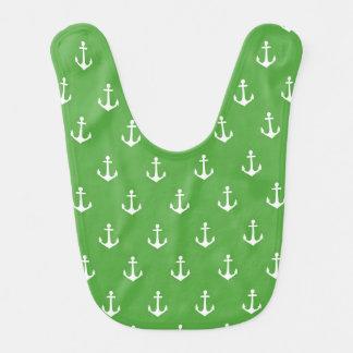 Babador do bebê da âncora do verde e do branco de