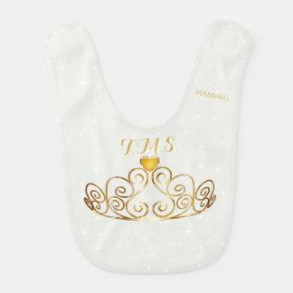 Babador do bebê de HAMbWG - coroa dourada -