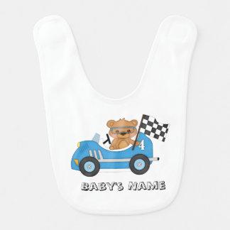 Babador do bebê do carro de corridas do urso de ur