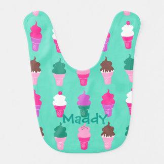 Babador do bebê do design dos cones do sorvete