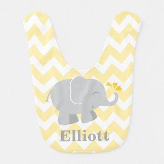 Babador | do bebê do elefante amarelo e cinzas