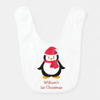 Babador do Natal do bebê ø com pinguim