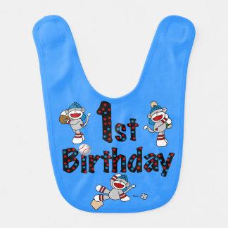 Babador do primeiro aniversario do basebol do maca babador de bebe