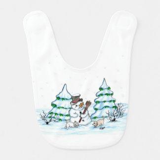 Babador Feliz Natal! Boneco de neve com gato e filhote de