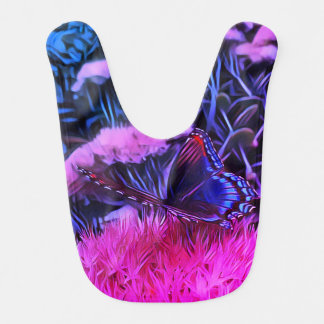 Babador Flores azuis cor-de-rosa de néon com borboleta de