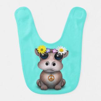 Babador Hippie bonito do hipopótamo do bebê