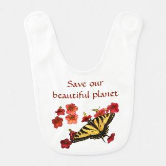 Babador Infantil A borboleta amarela em flores vermelhas salvar