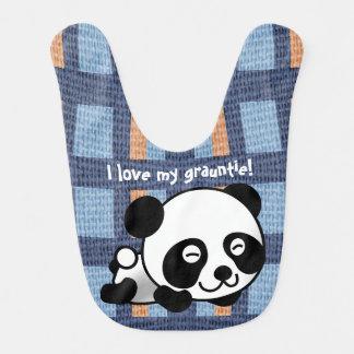 "Babador Infantil A panda, a xadrez & ""eu doces amam meu Grauntie! """