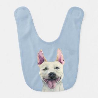 Babador Infantil Aguarela branca do cão de Staffordshire bull