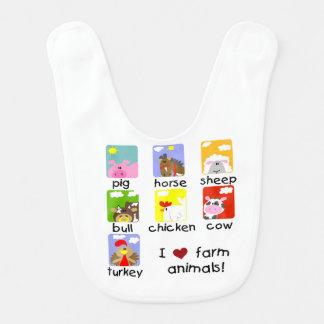 Babador Infantil Animais de fazenda