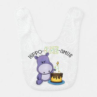 Babador Infantil Aniversário do amus do Hipopótamo-Um primeiro
