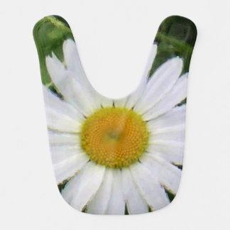 Babador Infantil Arte floral bonito da foto da margarida branca