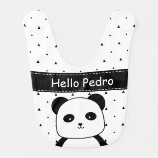 Babador Infantil Bebé preto e branco do Monochrome da panda