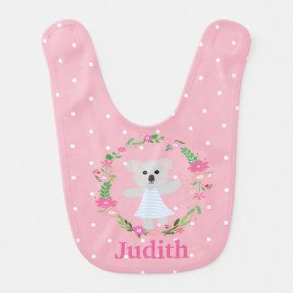 Babador Infantil Branco cinzento bonito Polkadots do rosa do urso