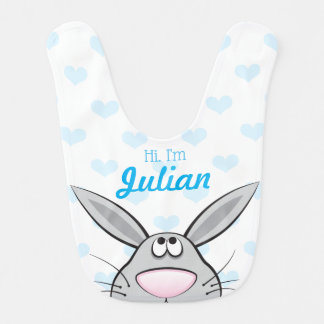 Babador Infantil Cute bunny Bib with Baby's nome, Custom Color
