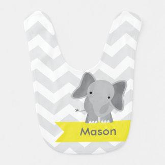 Babador Infantil Elefante amarelo cinzento personalizado de Chevron