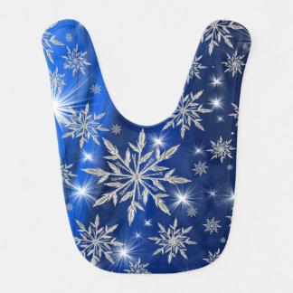 Babador Infantil Estrelas azuis do Natal com o cristal de gelo