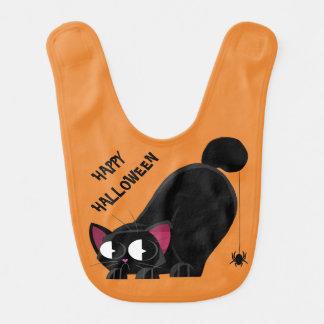 Babador Infantil Gato preto e aranha do Dia das Bruxas