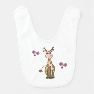 Babador Infantil Girafa dos desenhos animados com flores