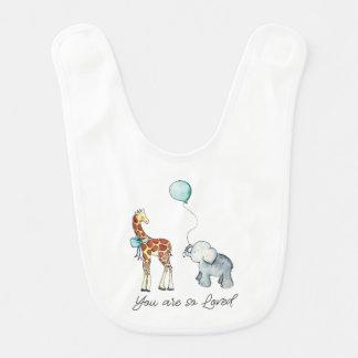 Babador Infantil Girafa e elefante adoráveis você é assim que amado